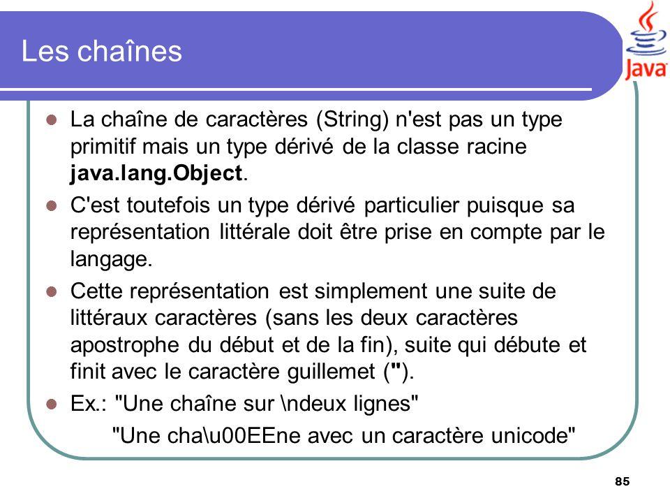Les chaînes La chaîne de caractères (String) n est pas un type primitif mais un type dérivé de la classe racine java.lang.Object.