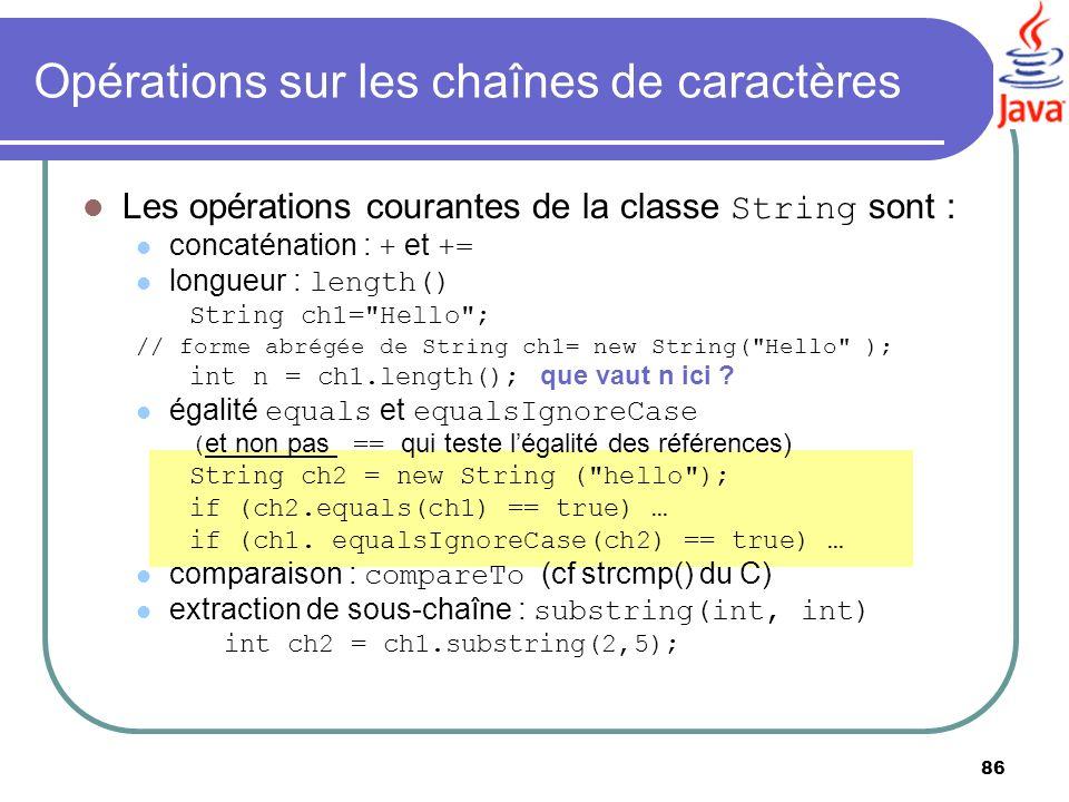 Opérations sur les chaînes de caractères