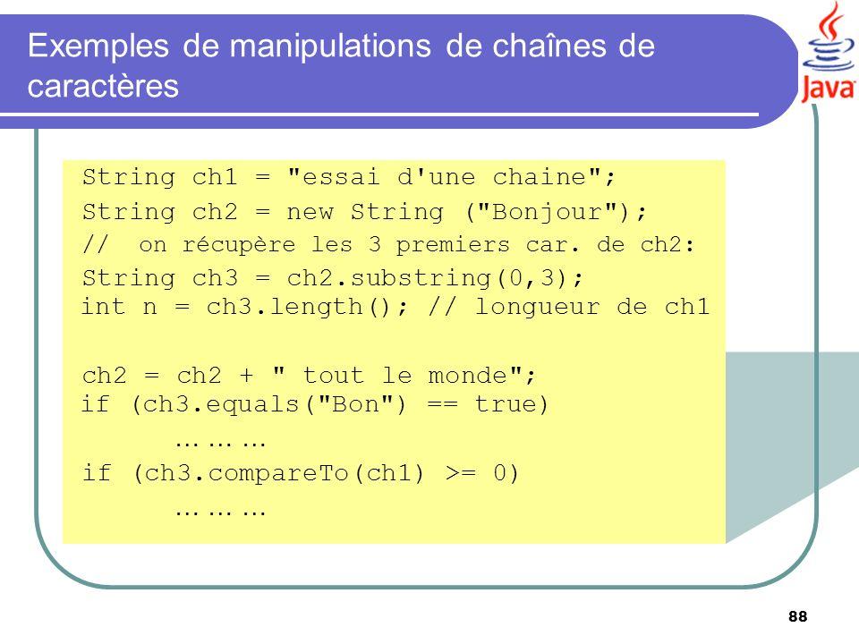 Exemples de manipulations de chaînes de caractères