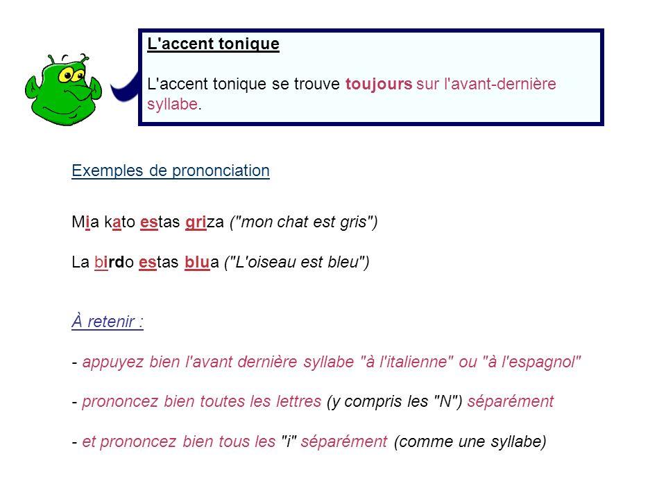 L accent tonique L accent tonique se trouve toujours sur l avant-dernière syllabe. Exemples de prononciation.