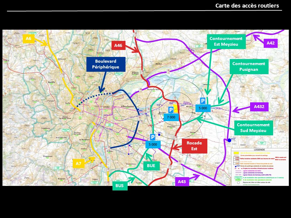 Carte des accès routiers