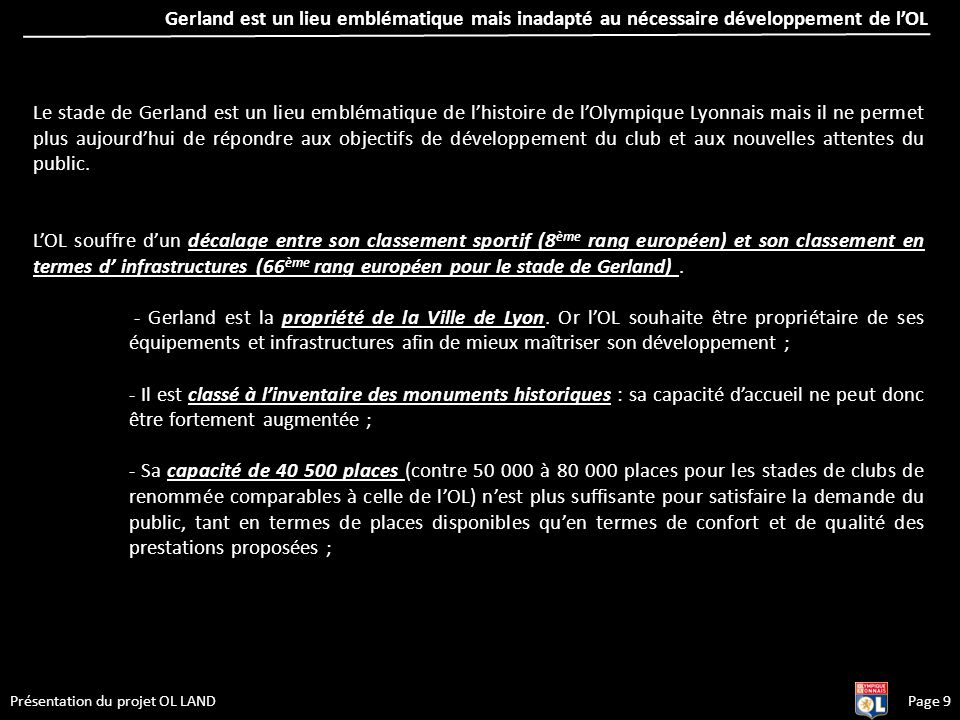 Gerland est un lieu emblématique mais inadapté au nécessaire développement de l'OL