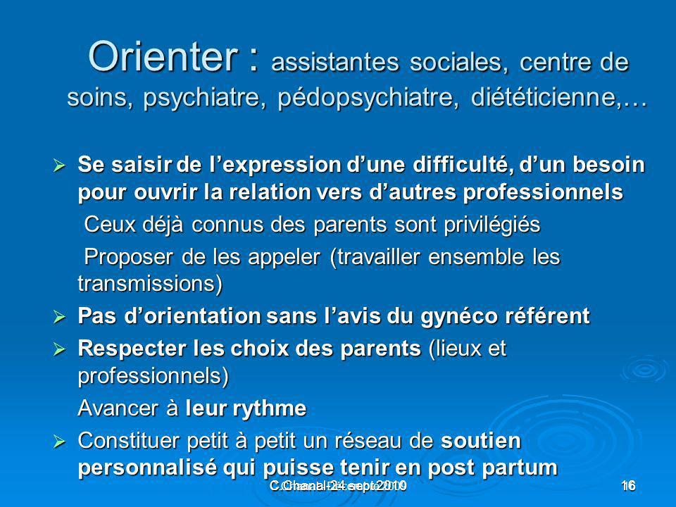 Orienter : assistantes sociales, centre de soins, psychiatre, pédopsychiatre, diététicienne,…