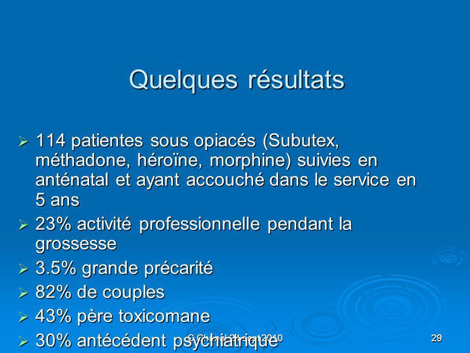 Quelques résultats 114 patientes sous opiacés (Subutex, méthadone, héroïne, morphine) suivies en anténatal et ayant accouché dans le service en 5 ans.
