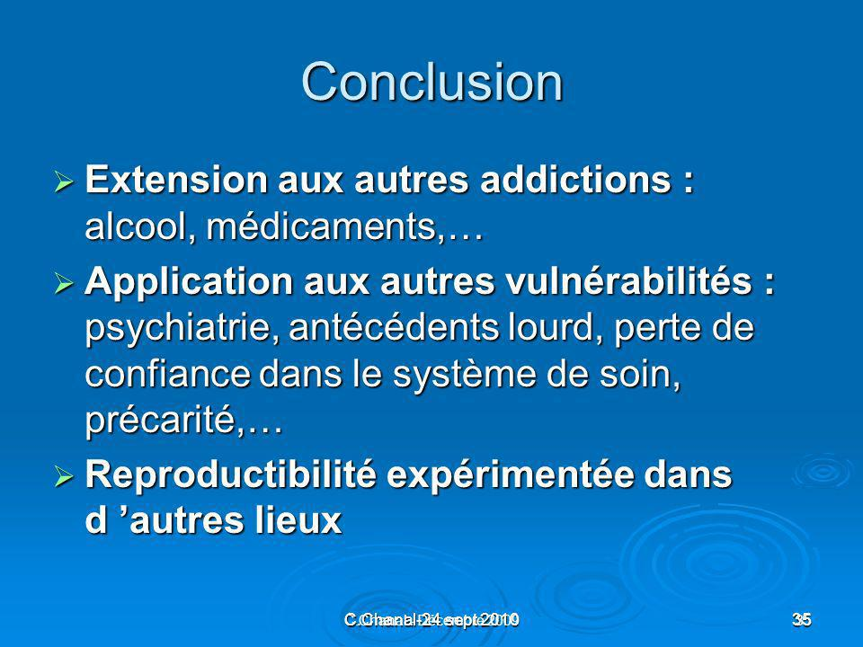 Conclusion Extension aux autres addictions : alcool, médicaments,…