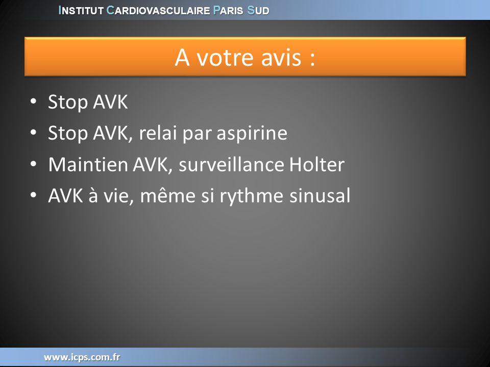 A votre avis : Stop AVK Stop AVK, relai par aspirine