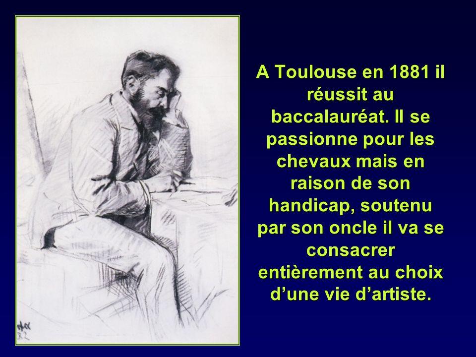 A Toulouse en 1881 il réussit au baccalauréat