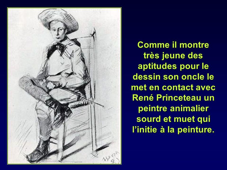 Comme il montre très jeune des aptitudes pour le dessin son oncle le met en contact avec René Princeteau un peintre animalier sourd et muet qui l'initie à la peinture.