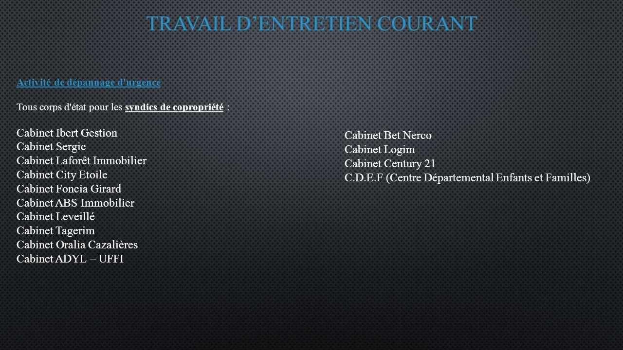 TRAVAIL D'ENTRETIEN COURANT