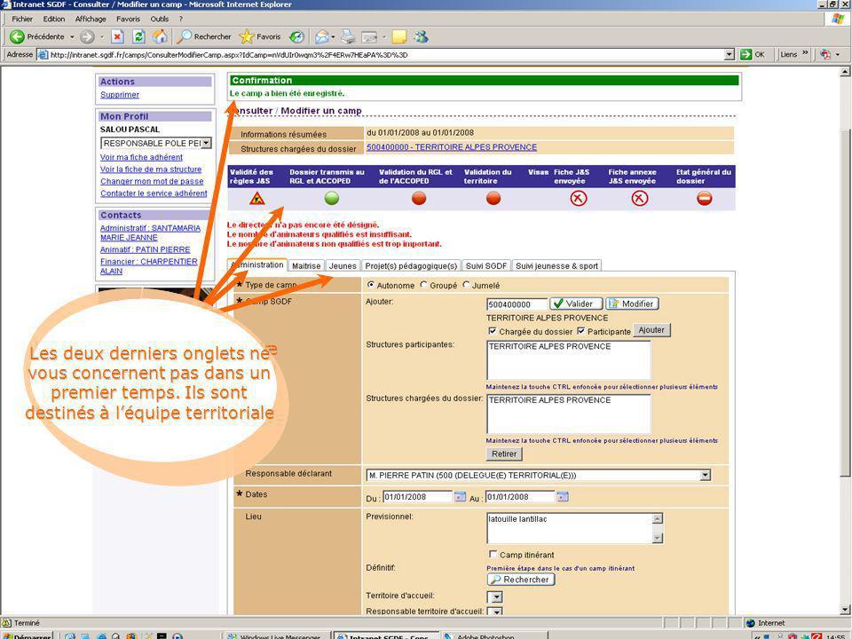 Une fois enregistré, la même page s'affiche avec vos données, puis une confirmation