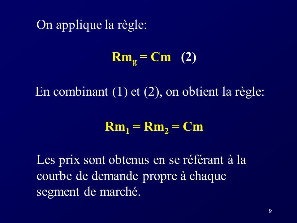On applique la règle: Rmg = Cm (2) En combinant (1) et (2), on obtient la règle: Rm1 = Rm2 = Cm.