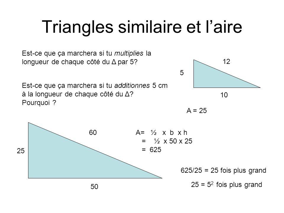 Triangles similaire et l'aire