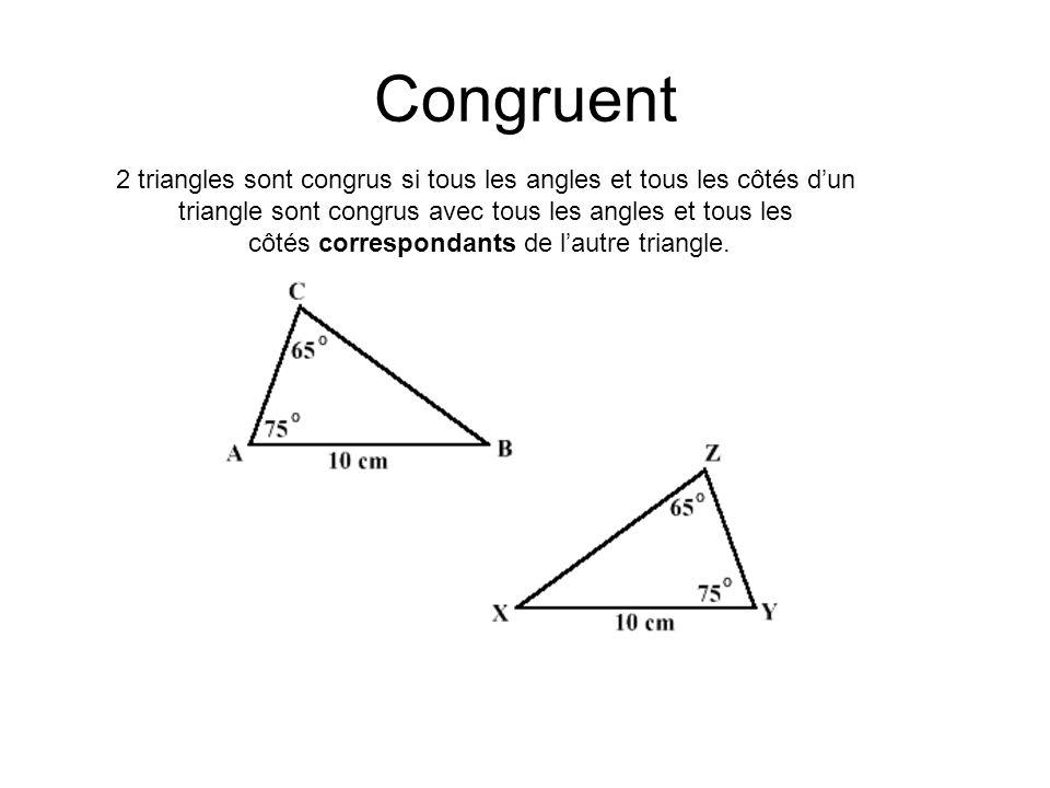 Congruent 2 triangles sont congrus si tous les angles et tous les côtés d'un. triangle sont congrus avec tous les angles et tous les.