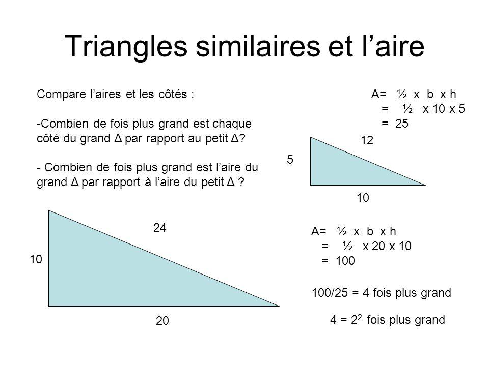 Triangles similaires et l'aire