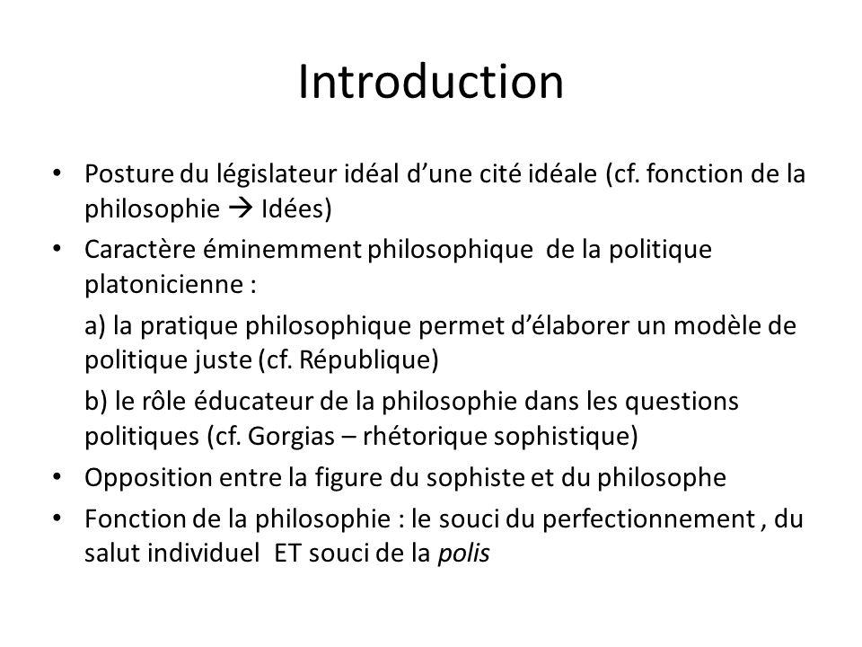 Introduction Posture du législateur idéal d'une cité idéale (cf. fonction de la philosophie  Idées)