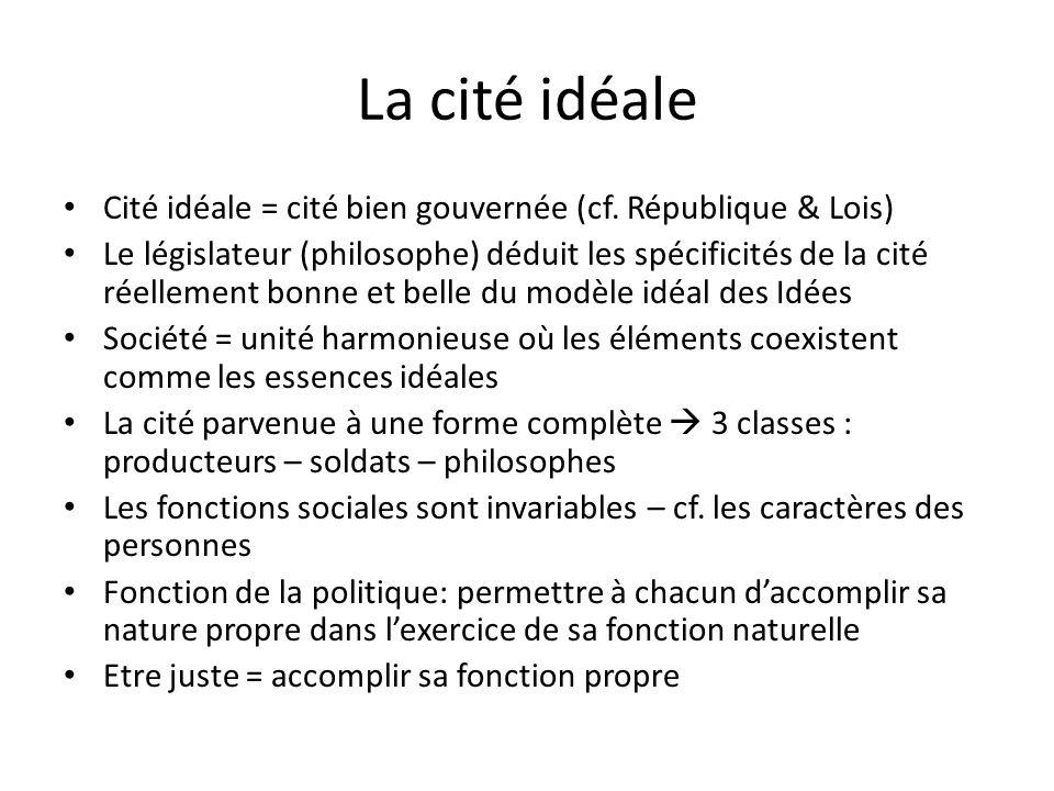 La cité idéale Cité idéale = cité bien gouvernée (cf. République & Lois)