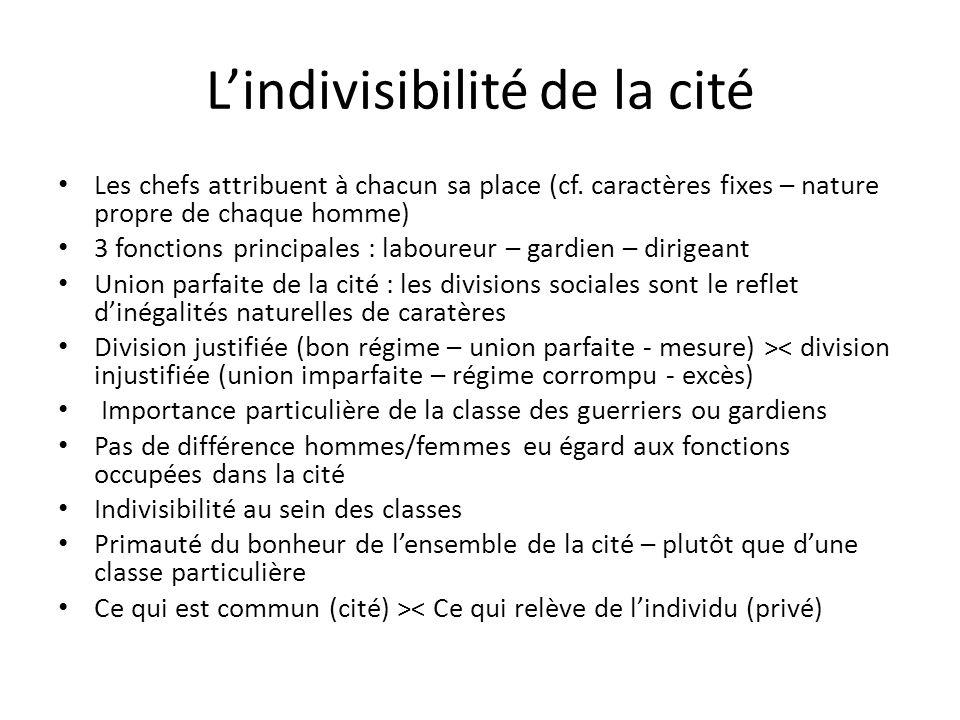 L'indivisibilité de la cité