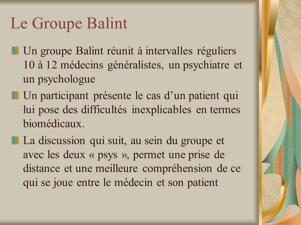 Le Groupe Balint Un groupe Balint réunit à intervalles réguliers 10 à 12 médecins généralistes, un psychiatre et un psychologue.
