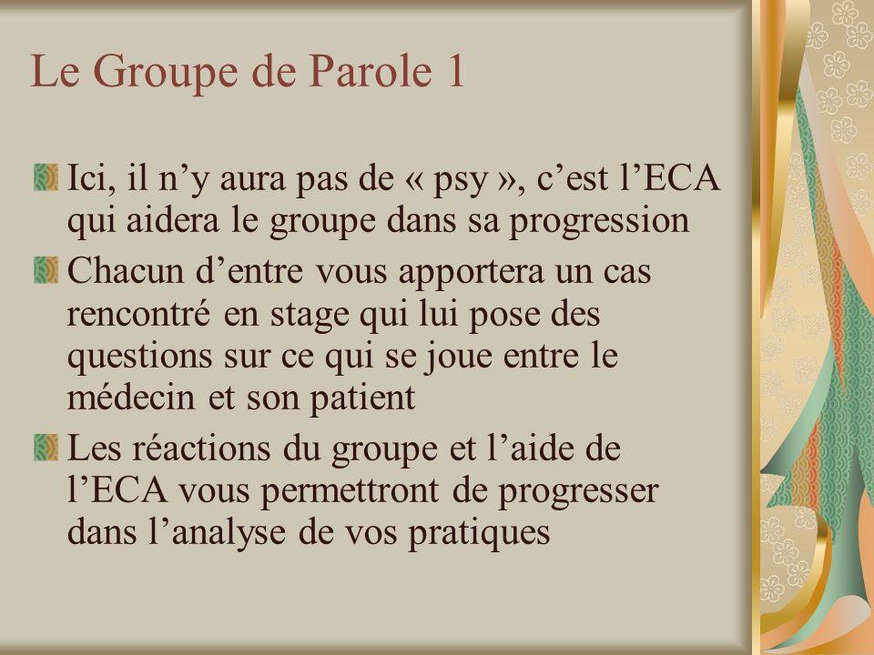 Le Groupe de Parole 1 Ici, il n'y aura pas de « psy », c'est l'ECA qui aidera le groupe dans sa progression.