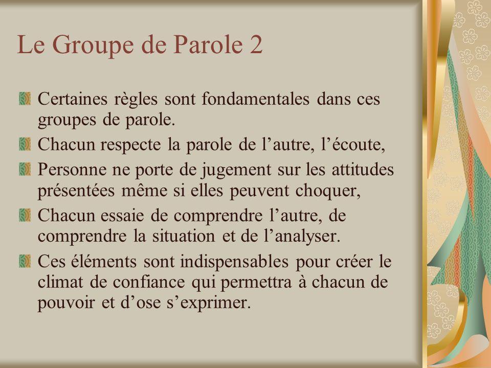 Le Groupe de Parole 2 Certaines règles sont fondamentales dans ces groupes de parole. Chacun respecte la parole de l'autre, l'écoute,