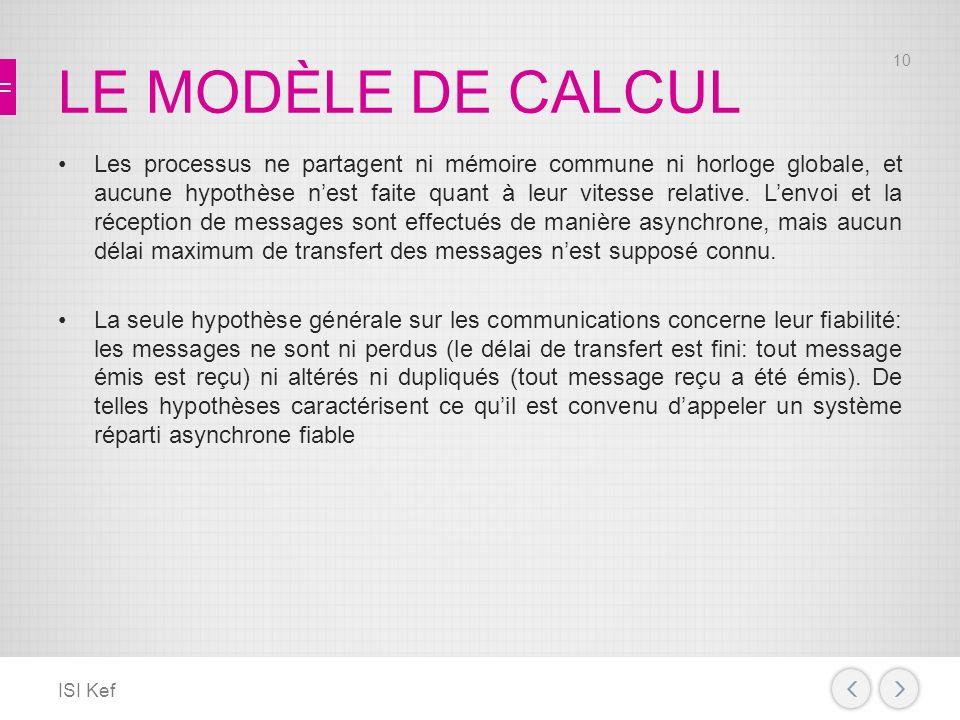 LE MODÈLE DE CALCUL