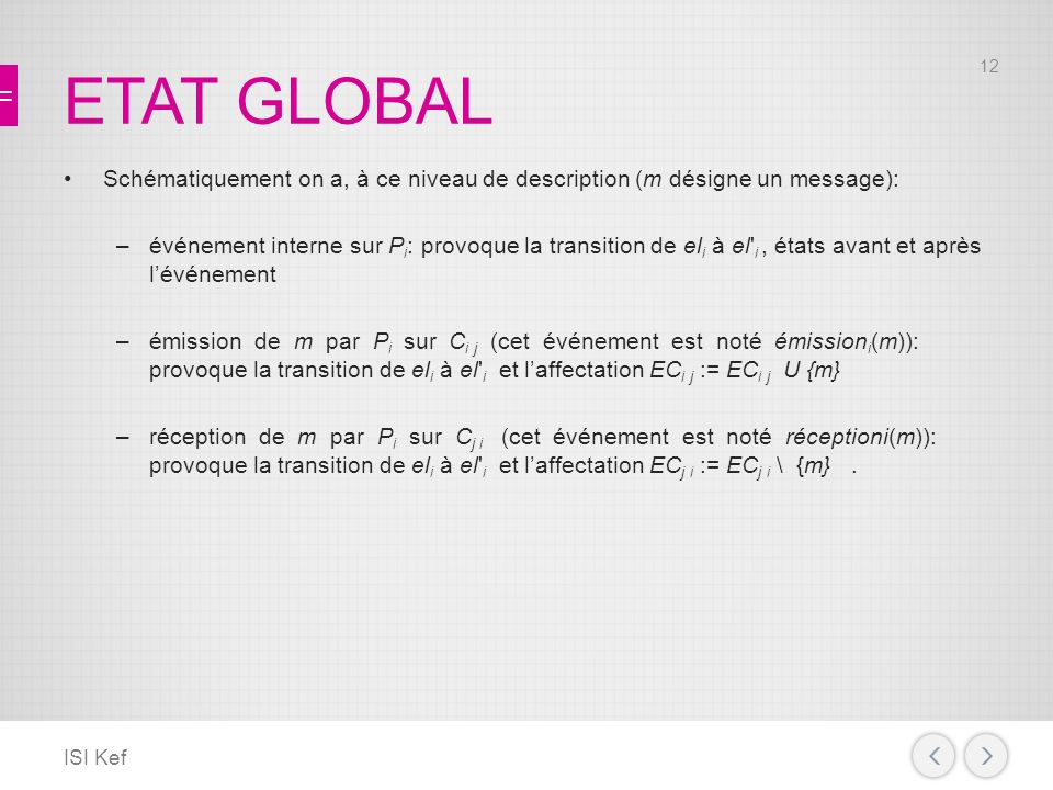 ETAT GLOBAL Schématiquement on a, à ce niveau de description (m désigne un message):