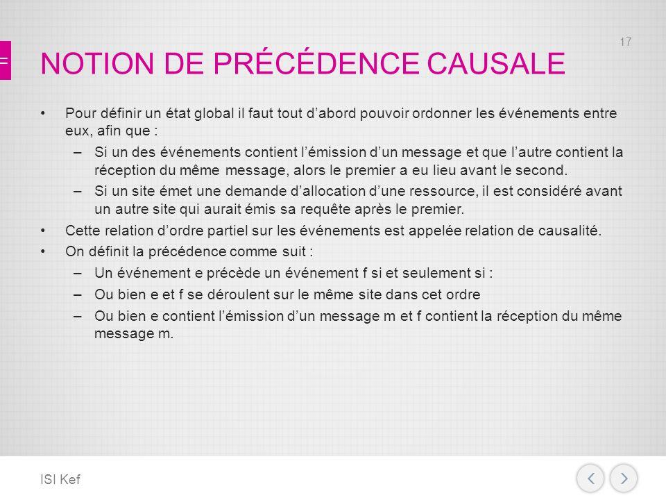 NOTION DE PRÉCÉDENCE CAUSALE
