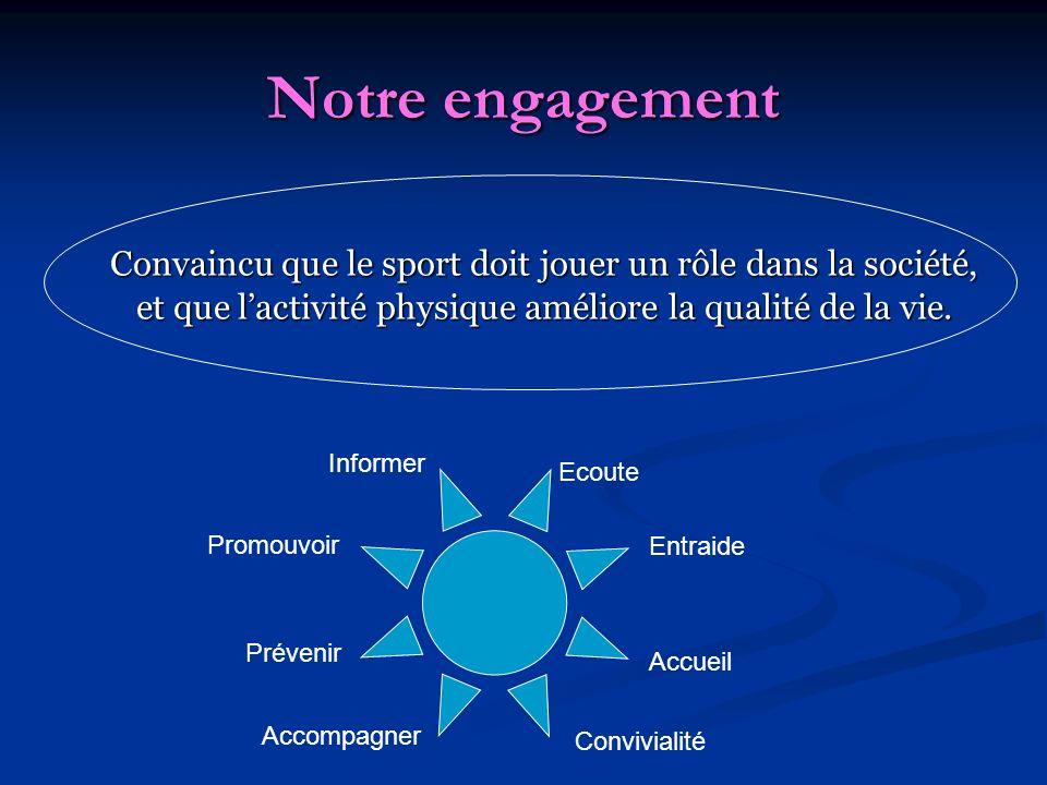 Notre engagement Convaincu que le sport doit jouer un rôle dans la société, et que l'activité physique améliore la qualité de la vie.