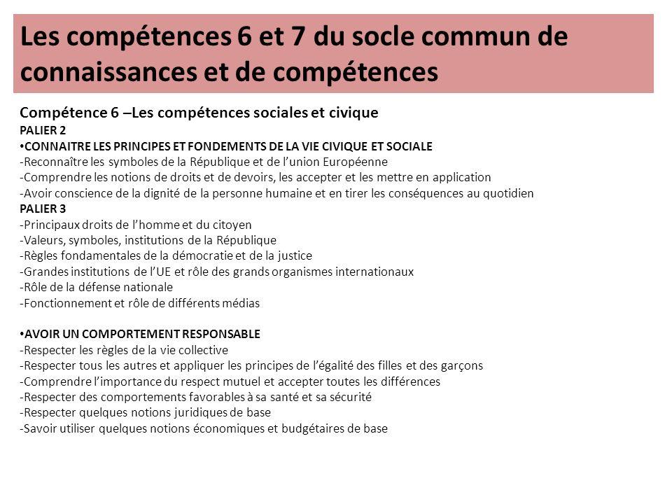 Les compétences 6 et 7 du socle commun de connaissances et de compétences