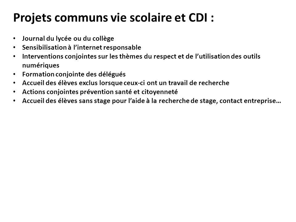 Projets communs vie scolaire et CDI :