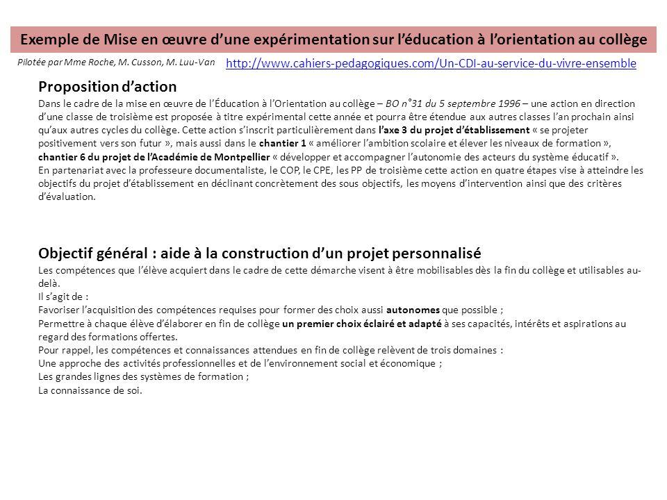 Exemple de Mise en œuvre d'une expérimentation sur l'éducation à l'orientation au collège