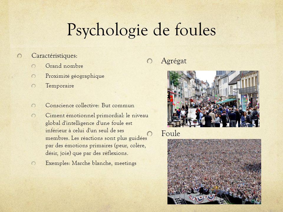 Psychologie de foules Agrégat Foule Caractéristiques: Grand nombre