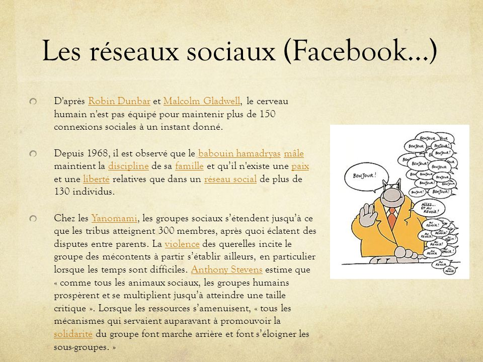 Les réseaux sociaux (Facebook…)