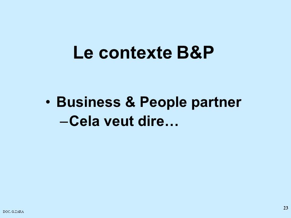 Le contexte B&P Business & People partner Cela veut dire…