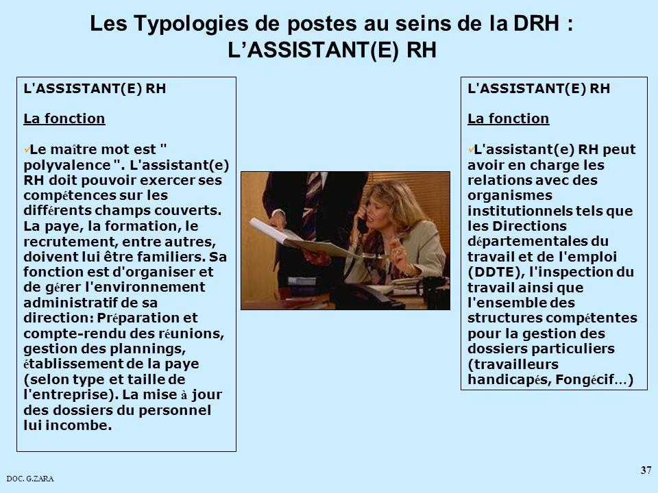 Les Typologies de postes au seins de la DRH : L'ASSISTANT(E) RH