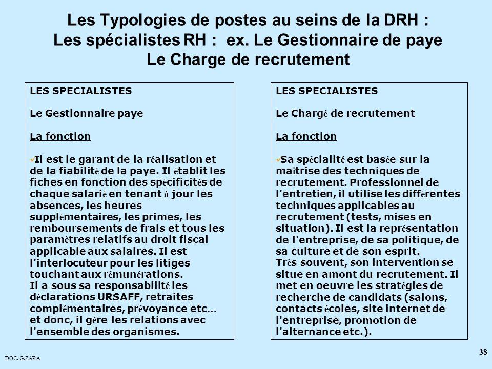 Les Typologies de postes au seins de la DRH : Les spécialistes RH : ex