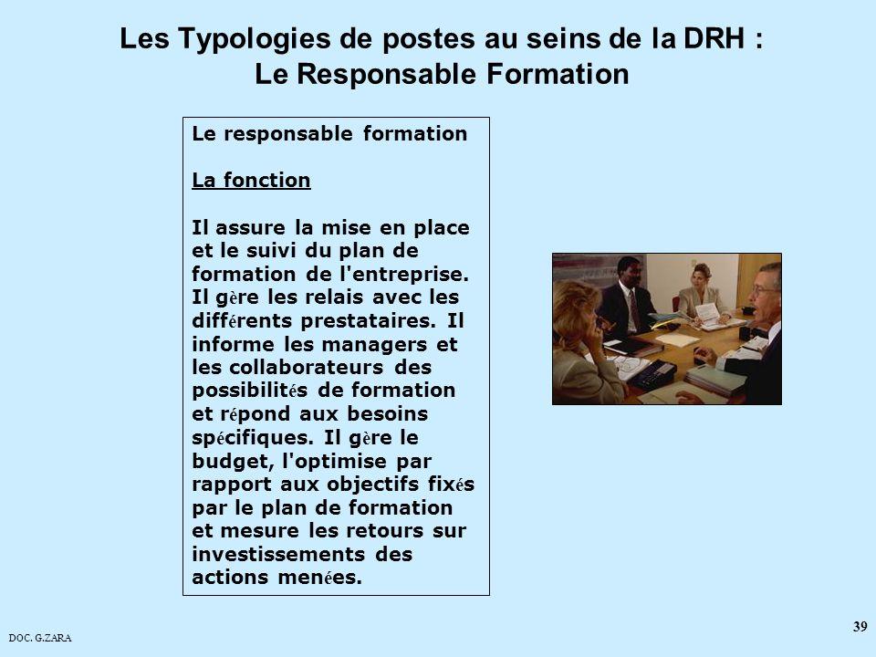 Les Typologies de postes au seins de la DRH : Le Responsable Formation