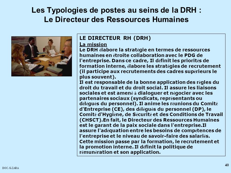 Les Typologies de postes au seins de la DRH : Le Directeur des Ressources Humaines