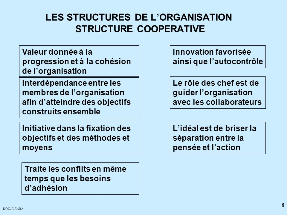 LES STRUCTURES DE L'ORGANISATION STRUCTURE COOPERATIVE