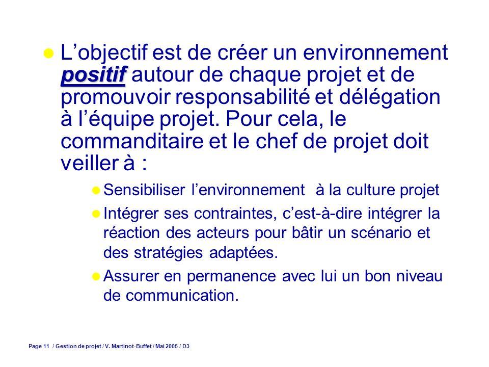 L'objectif est de créer un environnement positif autour de chaque projet et de promouvoir responsabilité et délégation à l'équipe projet. Pour cela, le commanditaire et le chef de projet doit veiller à :