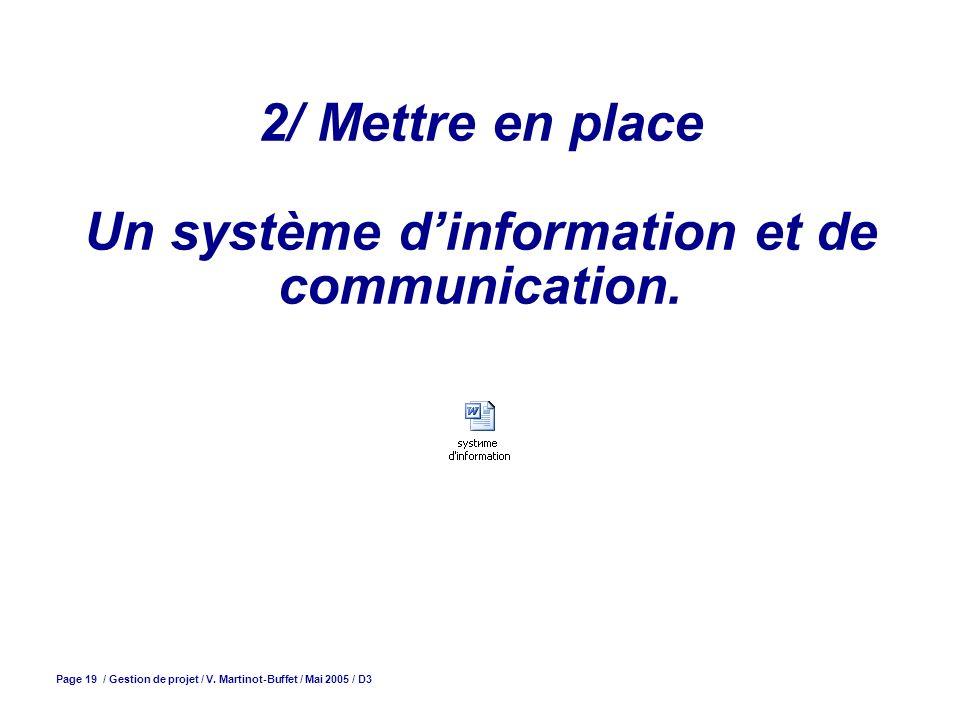2/ Mettre en place Un système d'information et de communication.