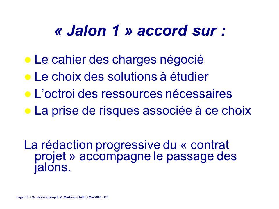 « Jalon 1 » accord sur : Le cahier des charges négocié