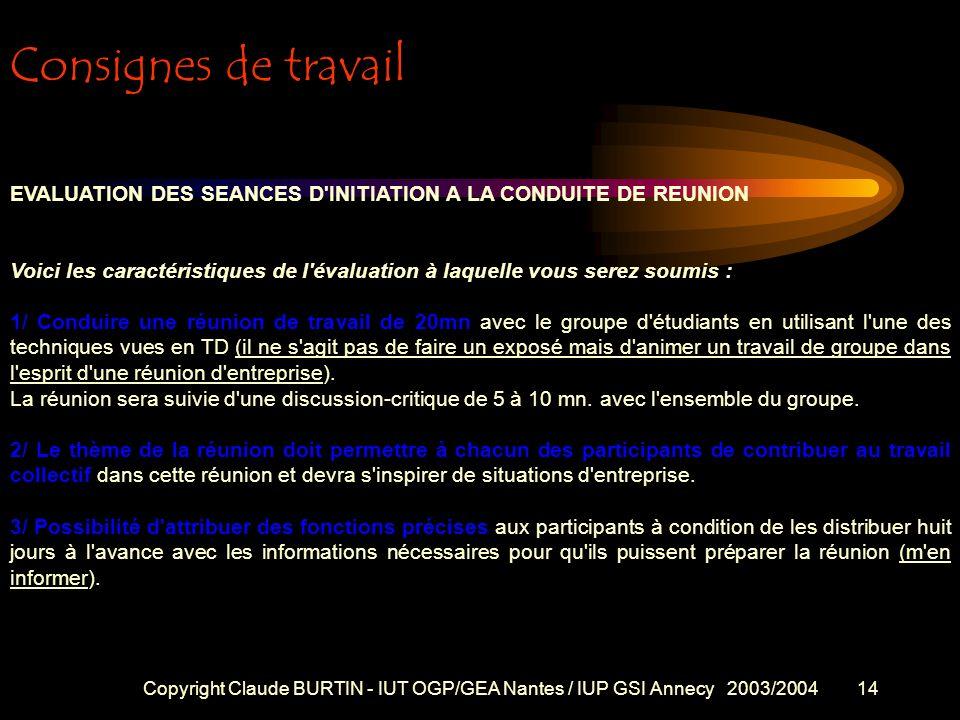 Consignes de travail EVALUATION DES SEANCES D INITIATION A LA CONDUITE DE REUNION.