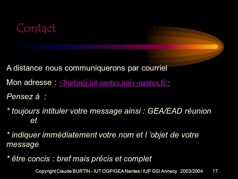 Contact A distance nous communiquerons par courriel