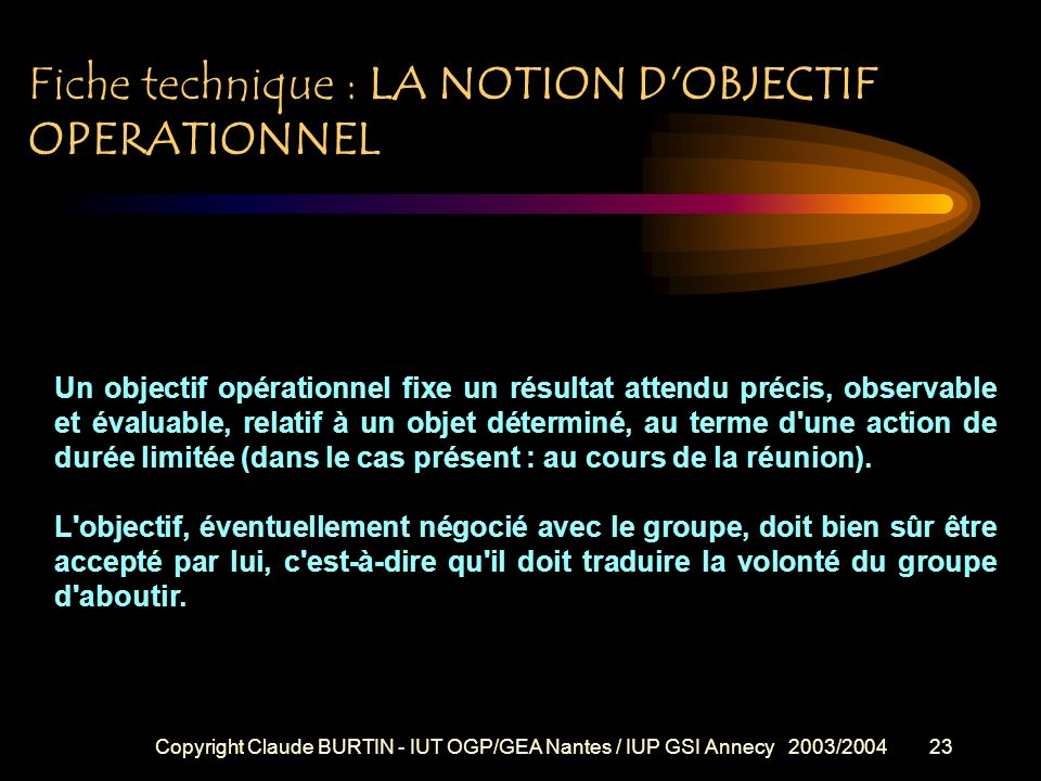 Fiche technique : LA NOTION D OBJECTIF OPERATIONNEL