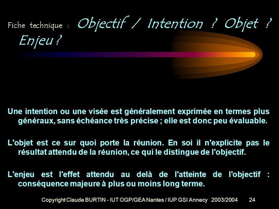 Fiche technique : Objectif / Intention Objet Enjeu