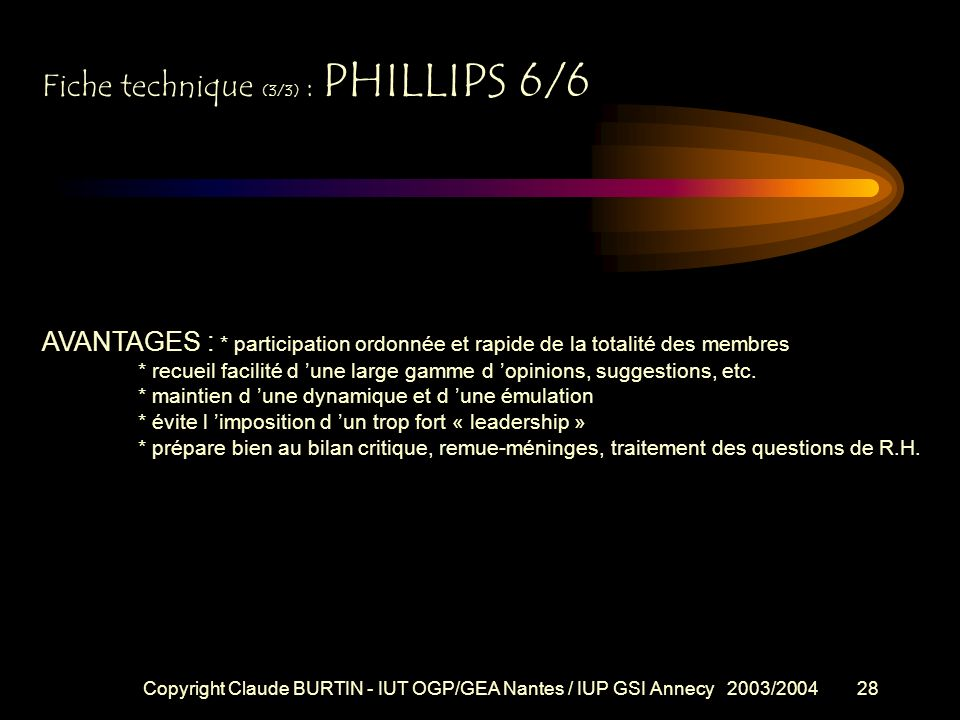 Fiche technique (3/3) : PHILLIPS 6/6