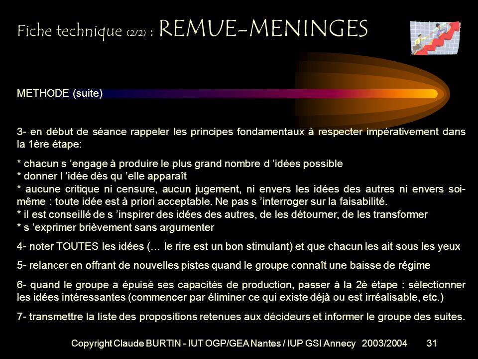 Fiche technique (2/2) : REMUE-MENINGES