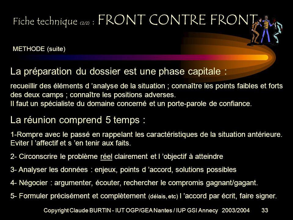 Fiche technique (2/2) : FRONT CONTRE FRONT