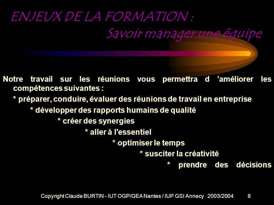 ENJEUX DE LA FORMATION : Savoir manager une équipe